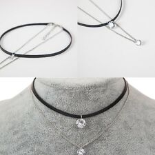 Charm Leather Trendy Choker Crystal Necklaces Pendants Gothic Collier for Women