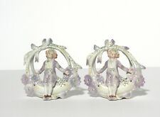 """Matching Pair """"Boy on a Swing"""" Basket Vases"""