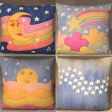 Vintage Japanese Designer Collector Moon Star Sun Pillows Artist Signed Set 80's