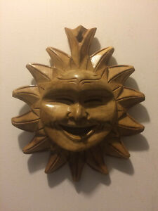 Sun God Handcrafted in Philippines Wooden Wall Hanging