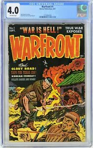 Warfront #1 (1951) CGC 4.0 1st KEY Issue Golden Age Bullet Through Chest Cover