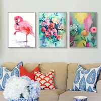 AU_ KE_ CO_ Watercolor Flamingo Flower Canvas Wall Painting Poster Picture Home