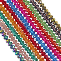 100-750pcs Faceted Rondelle Abacus Cutted Glass Crystals Loose Beads Crafts