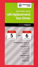 Timetable ~ London Midland - Rail Replacement Buses: Birmingham Redditch - 2016