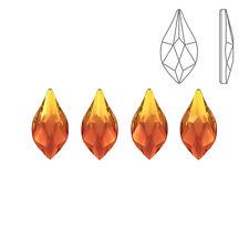 Swarovski 2205 Hotfix Crystal Flame Flatbacks Fire Opal 7.5mm Pack of 4 (K69/8)