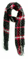 Charter Club Women's Plaid Fringe Scarf, Cherry Red / Black - MSRP $42
