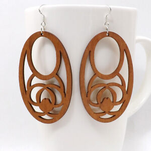 1 pair Good Quality Round Hollow Woman Wooden Earrings Pendant 1.6x2.7'' E47