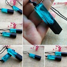 Colored Women/men Rope Chain Necklace Resin Wood Pendant Magic Forest