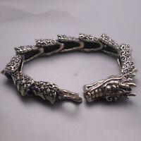 Solid 925 Sterling Silver Men's Bracelet For Man Unique Dragon-shaped Chain 7.87