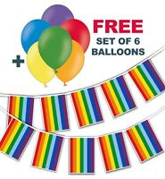 "Gay Pride Rainbow Rectangle Flags Bunting + free pack of 6 asst 12"" balloons"
