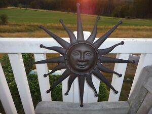 Schöne Große Lachende Sonne Innen Aussen Deko Metall Braun Retro Antiklook 59 cm