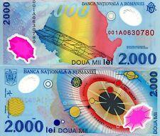 ROMANIA 2000 Lei Banknote World Paper Money Currency Pick p111 1999 001A Prefix