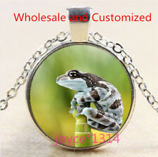 Frog Cabochon Silver/Bronze/Black/Gold Glass Chain Pendant Necklace #5178