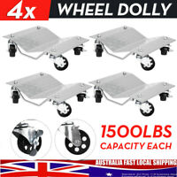 4X Wheel Dolly Castor Vehicle Positioning Jack Trolley Car Tire Mover 1500Lbs AU