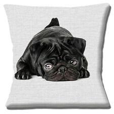"Black Pug Puppy Dog 16""x16"" 40cm Cushion Cover Photo Print on Grey print Texture"
