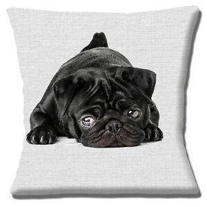 "Pug Cushion Cover Black Dog Photo Print Grey Print Texture 16 x 16"" 40 cm"