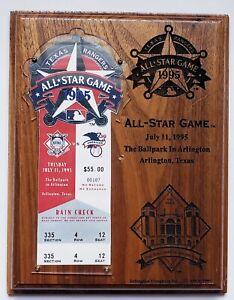 1995 MLB All-Star Game TICKET HOLDER ENGRAVED PLAQUE Arlington, TX 7/11/95 VG!