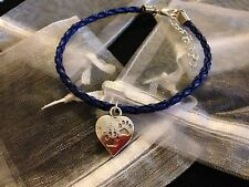 Blue Charm Bracelet Heart Charm Paw Prints Dog Cat Pet Gift Love Friendship