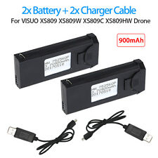 2x 3.7V 900mAh Rechargeable LiPo Battery +Charger Cable For VISUO XS809 XS809C