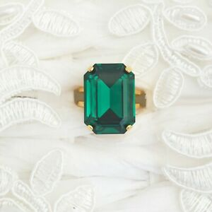 Rectangle Emerald Ring With CRYSTALLIZED™ Swarovski Elements Bridesmaid Green