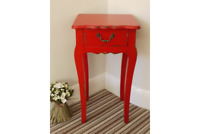 Red Shabby Chic Bedside Table Cabinet Antique Distressed Vintage Look