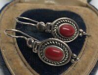 Vintage Sterling Silver Earrings 925 Red Coral Stone Dangle HAN