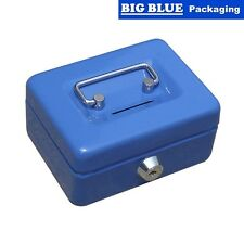 CASH BOX PETTY 250 x 180 BLUE TIN CONTAINER BOXES key counter classic