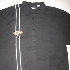 BOBBY CHAN - NEW - SILK & BAMBOO XXL - EMBROIDERED STRIPES/CAR BUTTON DOWN SHIRT