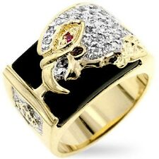 18K GOLD DIAMOND SIMULATED ROUND CUT MENS EAGLE DRESS RING sz 9-14 you choose