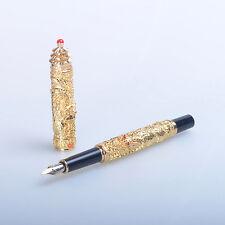 jinhao Small Double Dragon golden Medium nib fountain pen new gift pen