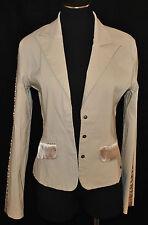 Vtg Chic Guess Tan Satin Trim Fitted Stretch Tuxedo Dinner Blazer Jacket Coat M