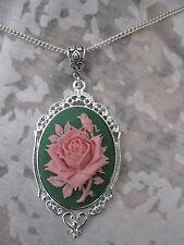 Grande 40 X 30mm Rosa En Verde cameo Rose Collar