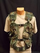 Military Issue 6 Mag Enhanced Tactical Load Bearing Vest w/ Medium Web Belt VG