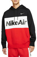 NIKE Air Fleece Pullover Hoodie sz S Small Black Red White Max Sportswear