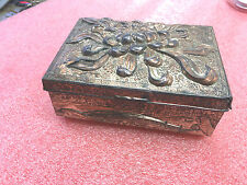FT4 Vintage embossed heavy metal made in Japan Tarnished ring jewelry box