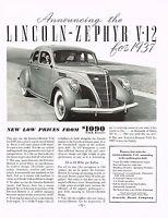 1936 BIG Vintage Lincoln Zephyr V-12 1937 Model Car Automobile Photo Print Ad