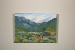 Springtime in Mountains with Horse Original Oil Painting on quality linen canvas