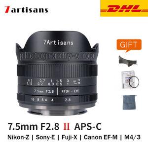 NEW 7artisans 7.5mm F2.8 II APS-C Fisheye lens for Fujifilm Sony M43 Canon Nikon