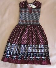 MAX STUDIO SLEEVELESS FIT & FLARE GRAPHIC PRINT DRESS WITH RUCHING - SIZE XS