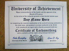 LOCKSMITH~ LOCK PICKING ~ LOCKSMITHING  DIPLOMA~MAN cave ~ certificate ~ FUN