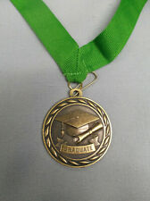 """gold graduate medal with green neck ribbon 2"""" diameter MS309-G"""