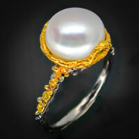 Vintage Antique Wedding Engagement Natural Pearl 925 Sterling Silver Ring /RVS48