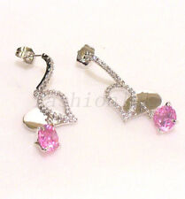 fashion1uk Women's Pink Simulated Diamond White Gold Plated Dangle Earrings