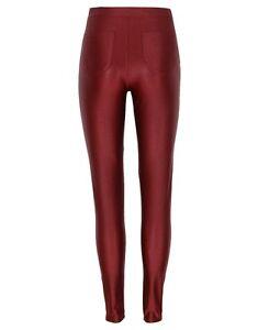 Ladies Burgundy Shiny Wet Look High Waist Disco Pants Womens
