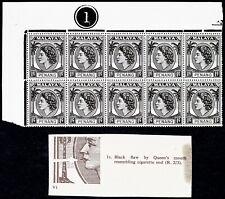 MALAYA PENANG 1954-57 (Rare Variety Cigarette Flaw + 2 spots) 1c Blk 10 MNH / VF