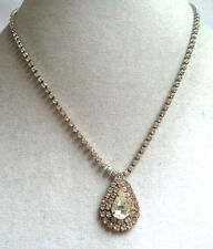 STUNNING VINTAGE WAREHOUSE NOS CLEAR RHINESTONE TEARDROP NECKLACE!!! WGA1490
