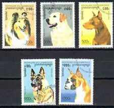 Chiens Cambodge (9) série complète de 5 timbres oblitérés