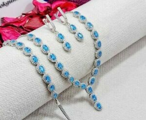 AAA QUALITY STERLING 925 SILVER JEWELRY SKY BLUE TOPAZ FULL SET