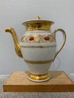 Antique French Old Paris Porcelain Teapot w/ Red Floral & Gold Decoration