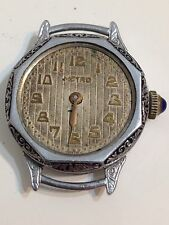 Metro 6 Jewels Swiss Chronometer 10 C Wind Up Watch Movement For Parts Or Repair